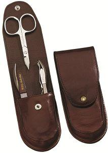 TROUSSE MANUCURE DOVO CUIR MARRON 4 PIECES